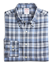 Regular Fit Blue and Navy Plaid Linen Sport Shirt