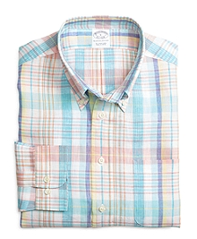 Slim Fit Aqua with Pink Plaid Linen Sport Shirt