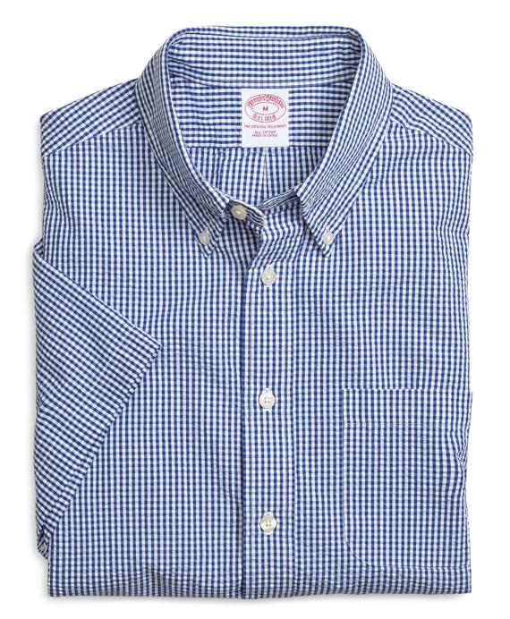 Regular Fit Seersucker Gingham Short-Sleeve Sport Shirt Navy