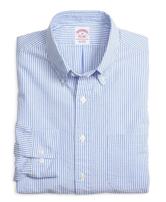 Regular fit seersucker classic stripe sport shirt brooks for Mens seersucker shirts on sale
