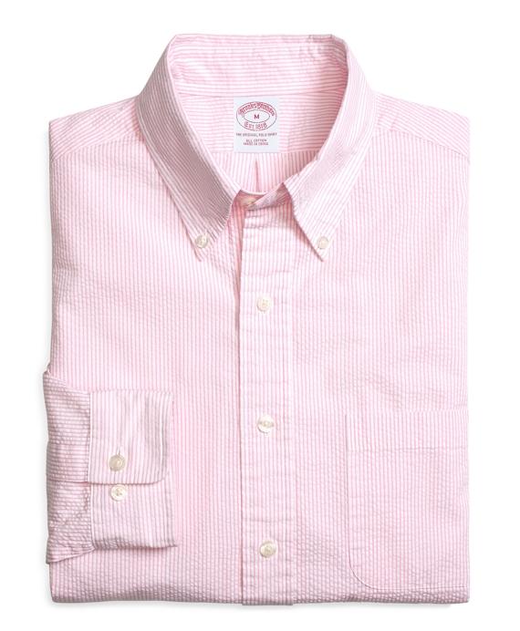 Regular Fit Seersucker Candy Stripe Sport Shirt Pink
