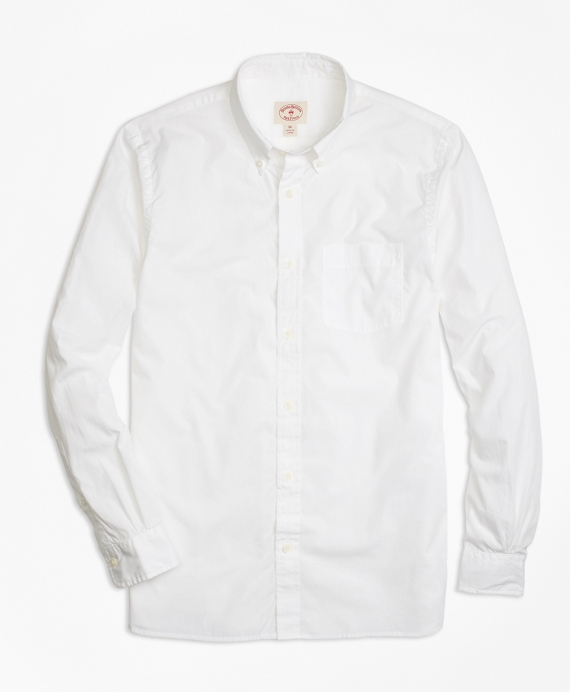 Solid White End-on-End Sport Shirt