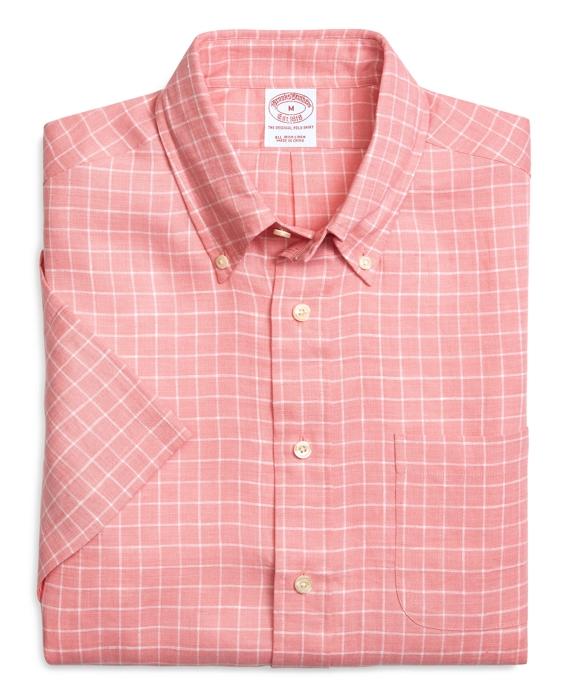 Regular Fit Ground Check Short-Sleeve Linen Sport Shirt Pink