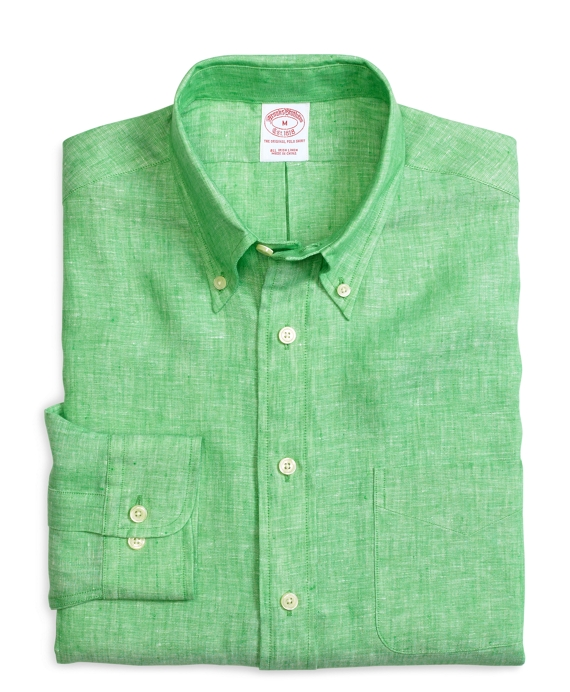 Madison Fit Solid Linen Sport Shirt Green