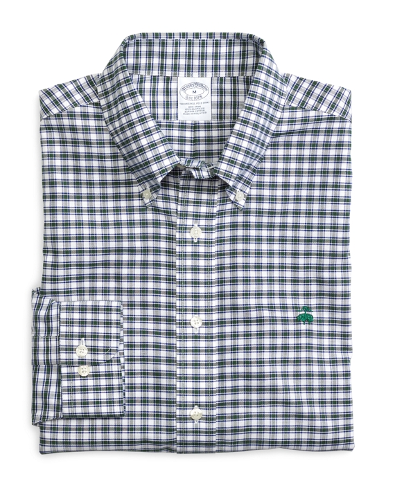 Non-Iron Slim Fit Check Sport Shirt Blue-Green