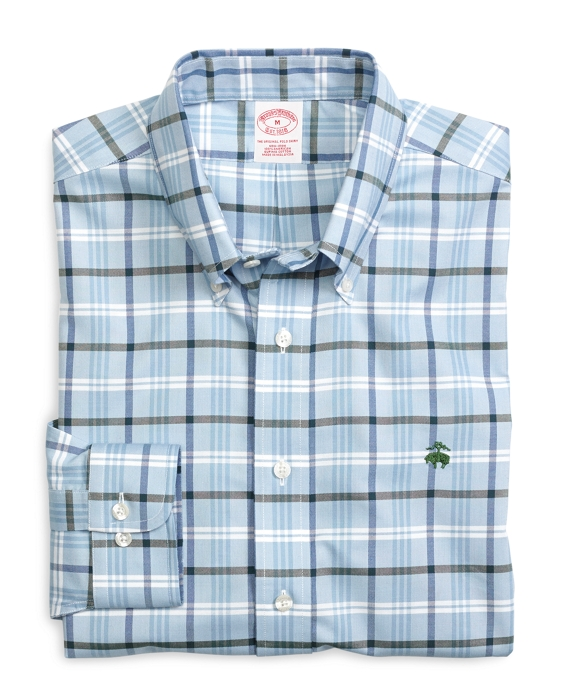 Non-Iron Regular Fit Check Sport Shirt Blue-Green