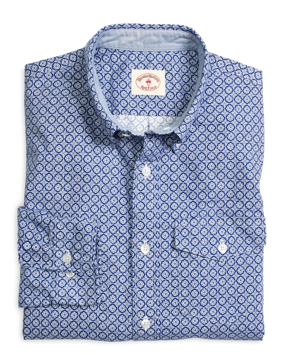 Supima® Cotton Oxford Foulard Sport Shirt Blue