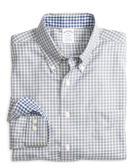 Non-Iron Slim Fit Framed Mini Check Sport Shirt Grey