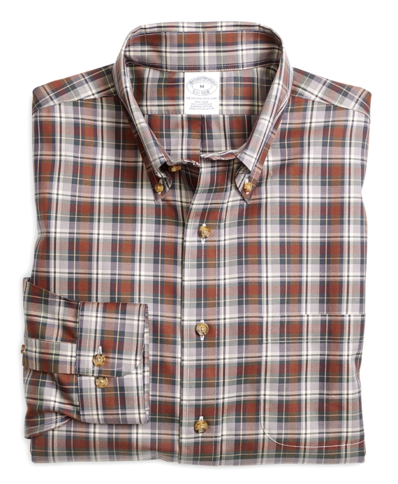 Non-Iron Slim Fit Plaid Sport Shirt Grey-Brown