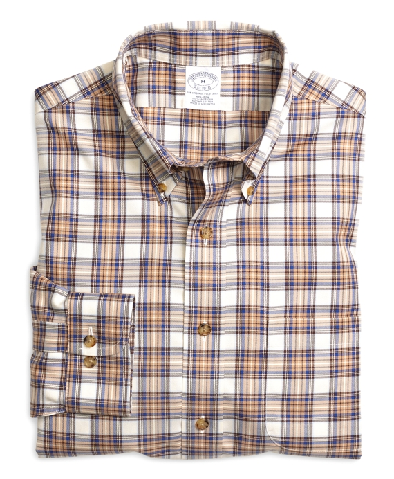 Non-Iron Slim Fit Plaid Check Sport Shirt Tan-Blue