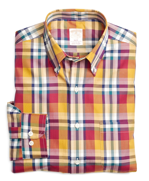Golden Fleece® Regular Fit Mini Plaid Sport Shirt Yellow-Red