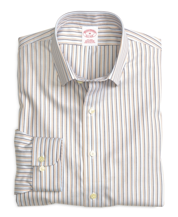 Non-Iron Regular Fit Multistripe  Sport Shirt Blue-Tan