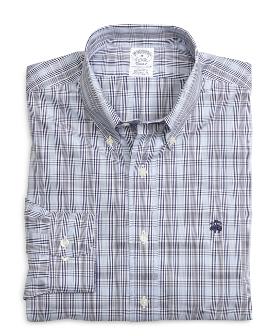 Non-Iron Slim Fit Glen Plaid Sport Shirt Blue