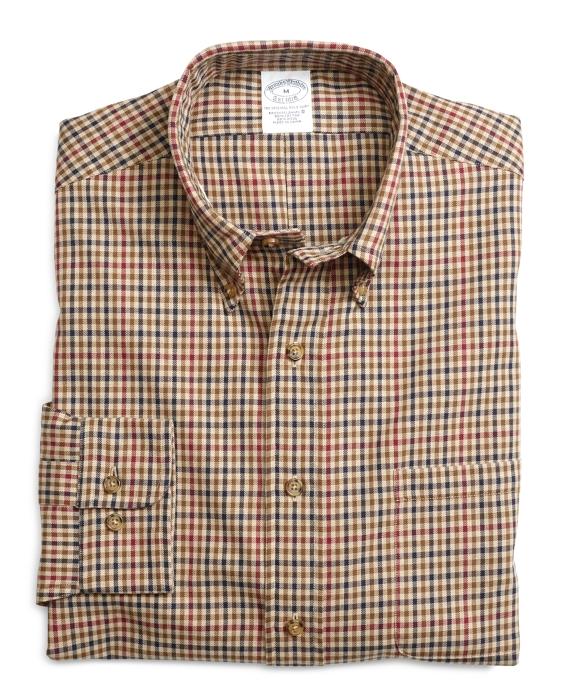BrooksFlannel® Slim Fit Mini Check Sport Shirt Tan