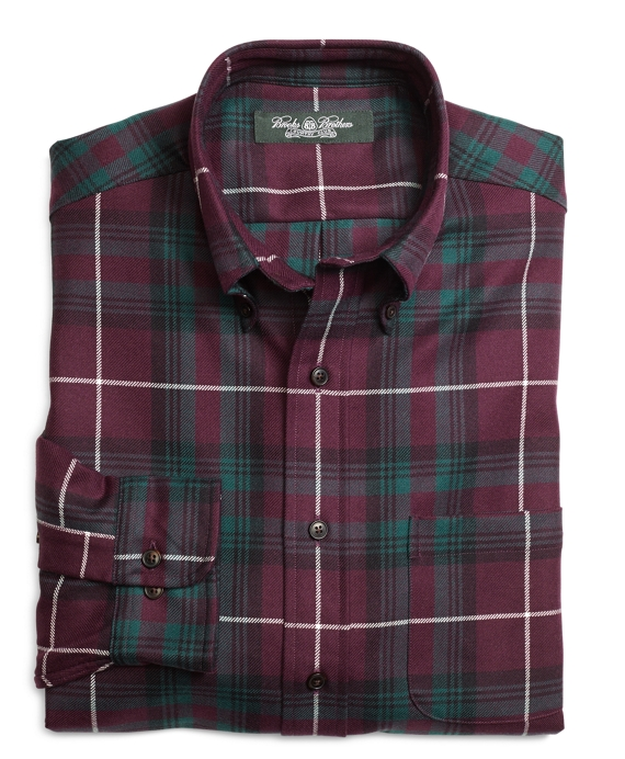 Country Club Regular Fit Multiplaid Saxxon Wool Sport Shirt Red Multi