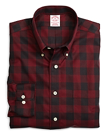 Non-Iron Regular Fit Red Plaid Sport Shirt