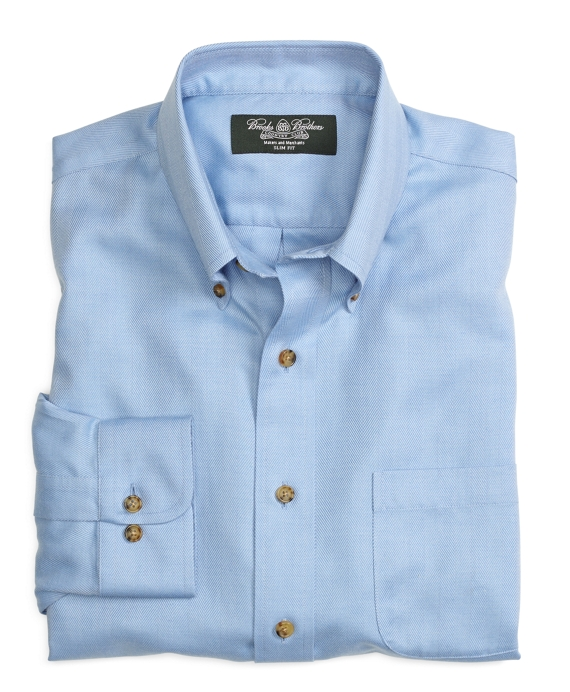 Country Club Non-Iron Slim Fit Cotton Cashmere Herringbone Sport Shirt Blue