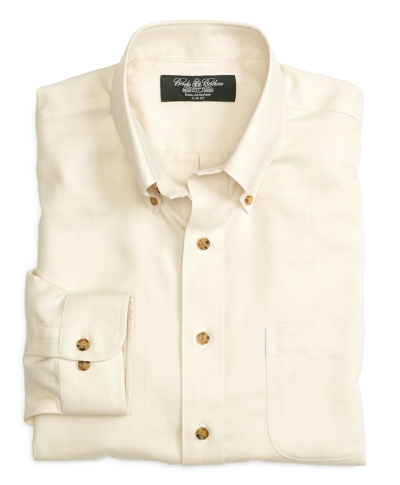 Country Club Non-Iron Slim Fit Cotton Cashmere Windowpane Sport Shirt Ivory