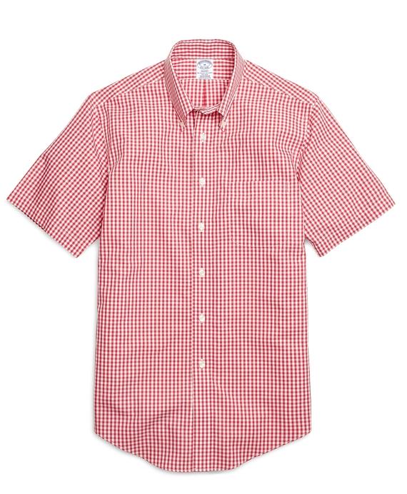 Non-Iron Regent Fit Gingham Short-Sleeve Sport Shirt Red