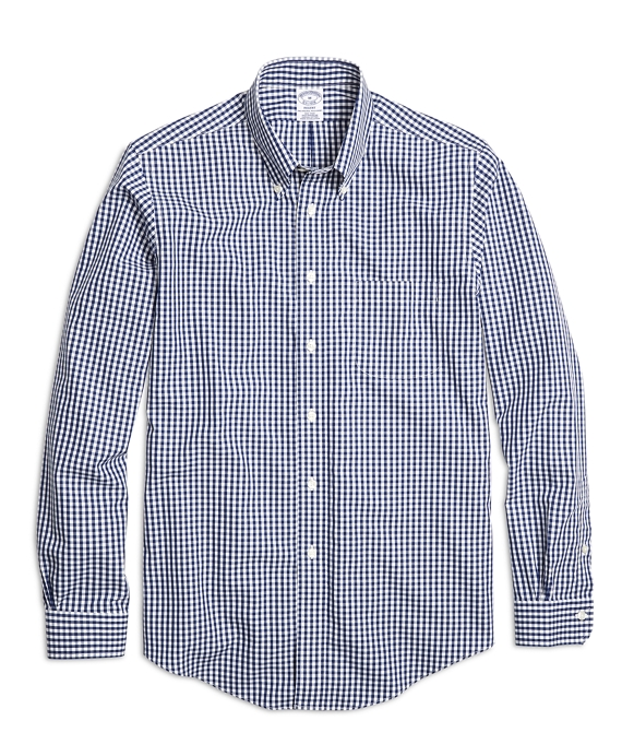 Non-Iron Regent Fit Gingham  Sport Shirt Navy