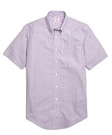 Non-Iron Madison Fit Gingham Short-Sleeve Sport Shirt