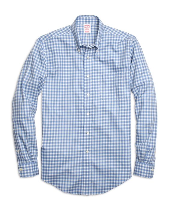 Non-Iron Madison Fit Twin Check Sport Shirt Blue