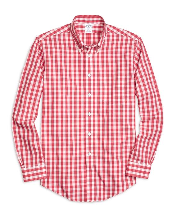 Non-Iron Regent Fit Large Gingham  Sport Shirt Rose