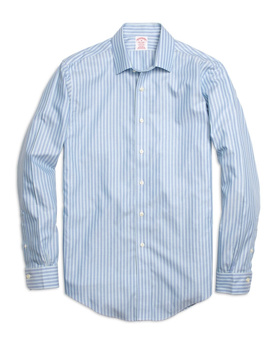 Non-Iron Madison Fit Twin Stripe Sport Shirt Blue-Green