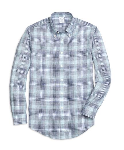 Regent Fit Glen Plaid Linen Sport Shirt