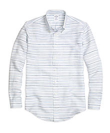 Regent Fit Horizontal Stripe Linen Sport Shirt
