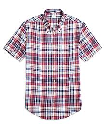 Regent Fit White Plaid Linen Short-Sleeve Sport Shirt