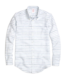 Madison Fit Horizontal Stripe Linen Sport Shirt