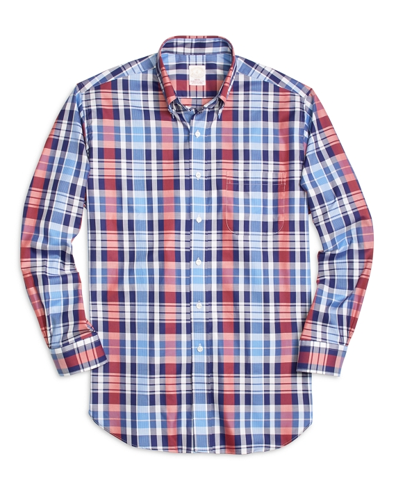Golden Fleece® Madison Fit Large Plaid Sport Shirt Blue