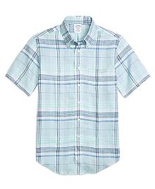 Regent Fit Plaid Linen Short-Sleeve Sport Shirt