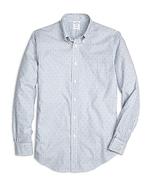Regent Fit Stripe with Dot Print Sport Shirt