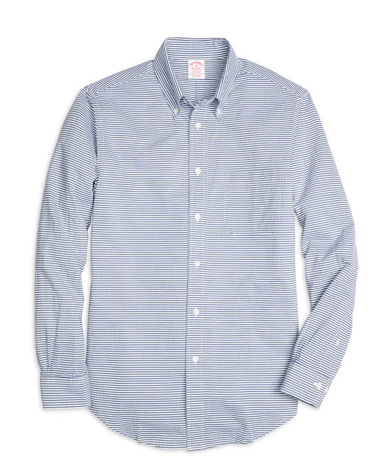 Madison Fit Horizontal Stripe Seersucker Sport Shirt Navy