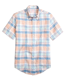 Madison Fit Plaid Linen Short-Sleeve Sport Shirt
