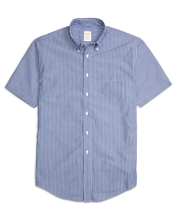 Madison Fit Stripe Seersucker Short-Sleeve Sport Shirt Sodalite Blue