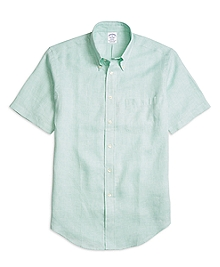 Regent Fit Check Linen Short-Sleeve Sport Shirt