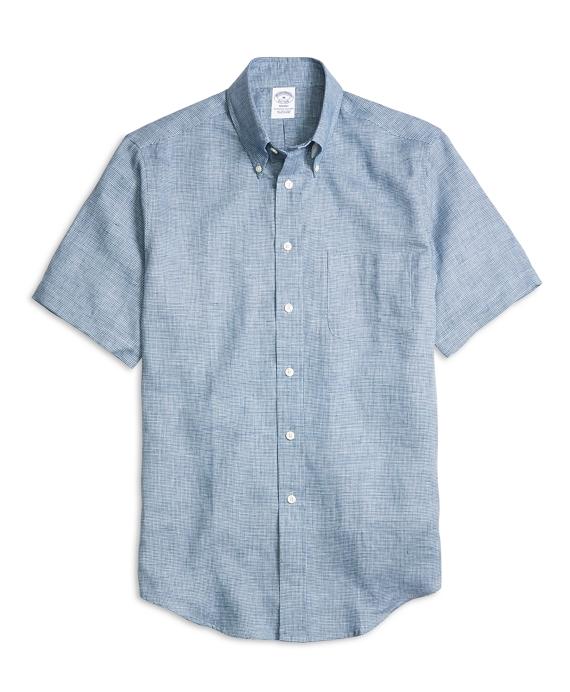 Regent Fit Check Linen Short-Sleeve Sport Shirt Navy
