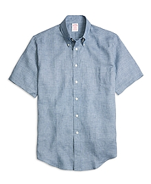 Madison Fit Check Linen Short-Sleeve Sport Shirt