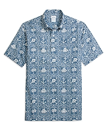 Regent Fit Nautical Print Popover Short-Sleeve Sport Shirt