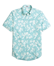 Regent Fit Pineapple Print Short-Sleeve Sport Shirt