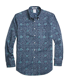 Regent Fit Nautical Print Sport Shirt