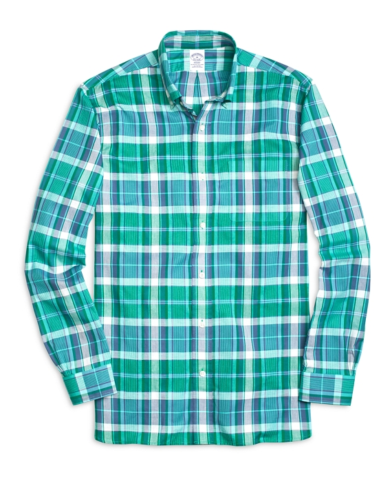 Regent Fit Madras Sport Shirt Green