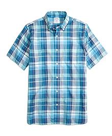 Regent Fit Blue Madras Short -Sleeve Sport Shirt