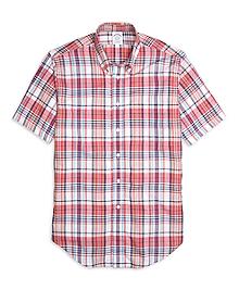 Regent Fit Pink Madras Short Sleeve Sport Shirt