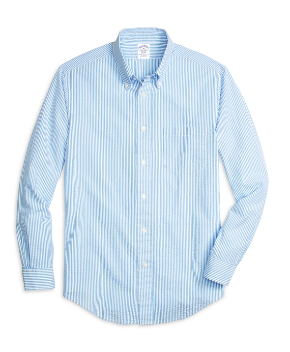 Men 39 s slim fit striped seersucker sport shirt brooks for Mens seersucker shirts on sale