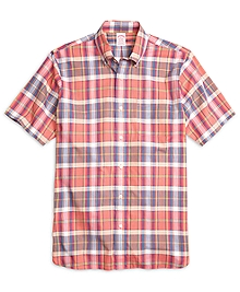 Madison Fit Madras Short-Sleeve Sport Shirt