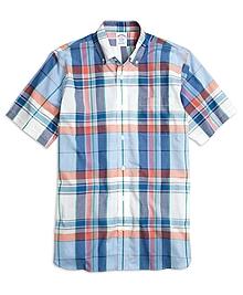 Madison Fit Light-Blue Madras Short-Sleeve Sport Shirt